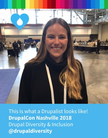 After our interview, Alana and I stopped by the D&I DrupalCon booth to see what a Drupalist looks like.