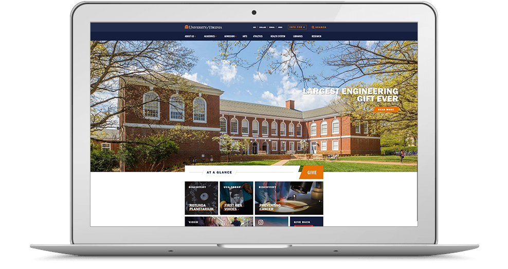 UVA Website on Laptop