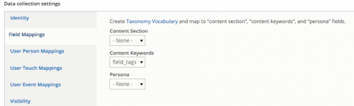 Screenshot from Drupal of field mapping