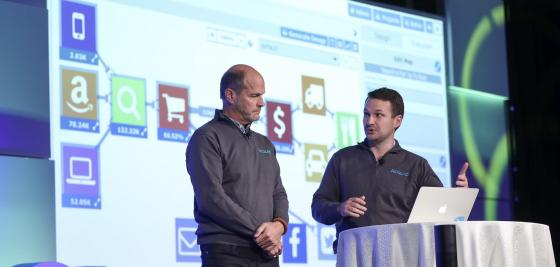 Acquia Product Strategist Dave Ingram, right, and Chief Products Officer Chris Stone talk about Acquia Journey at the company's 2017 Engage conference in Boston.