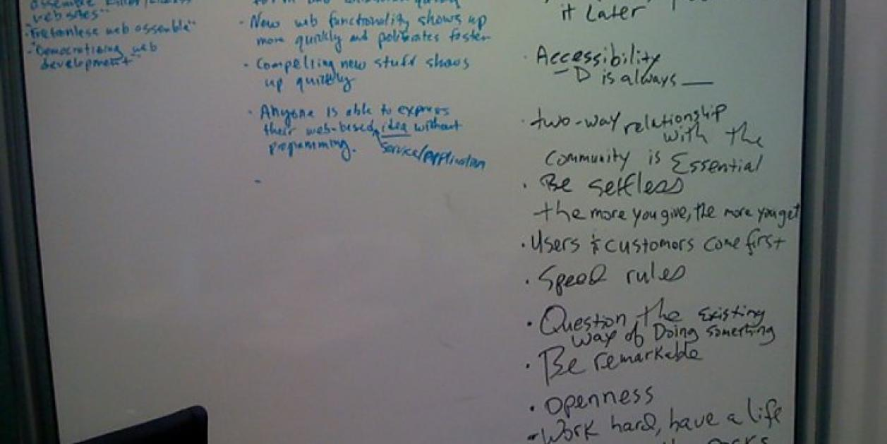 Acquia's original corporate values on whiteboard in 2007
