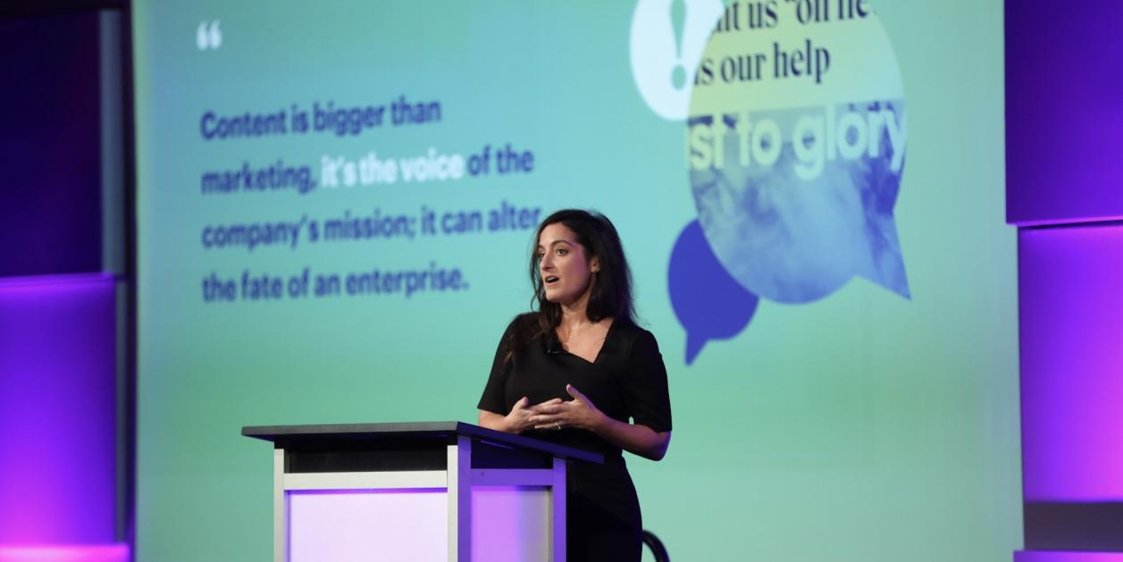 "Nadine Stahlman, managing director of Accenture, gives her presentation, ""Challenges and Opportunities in the New Content Era"" at 2017 Acquia Engage."