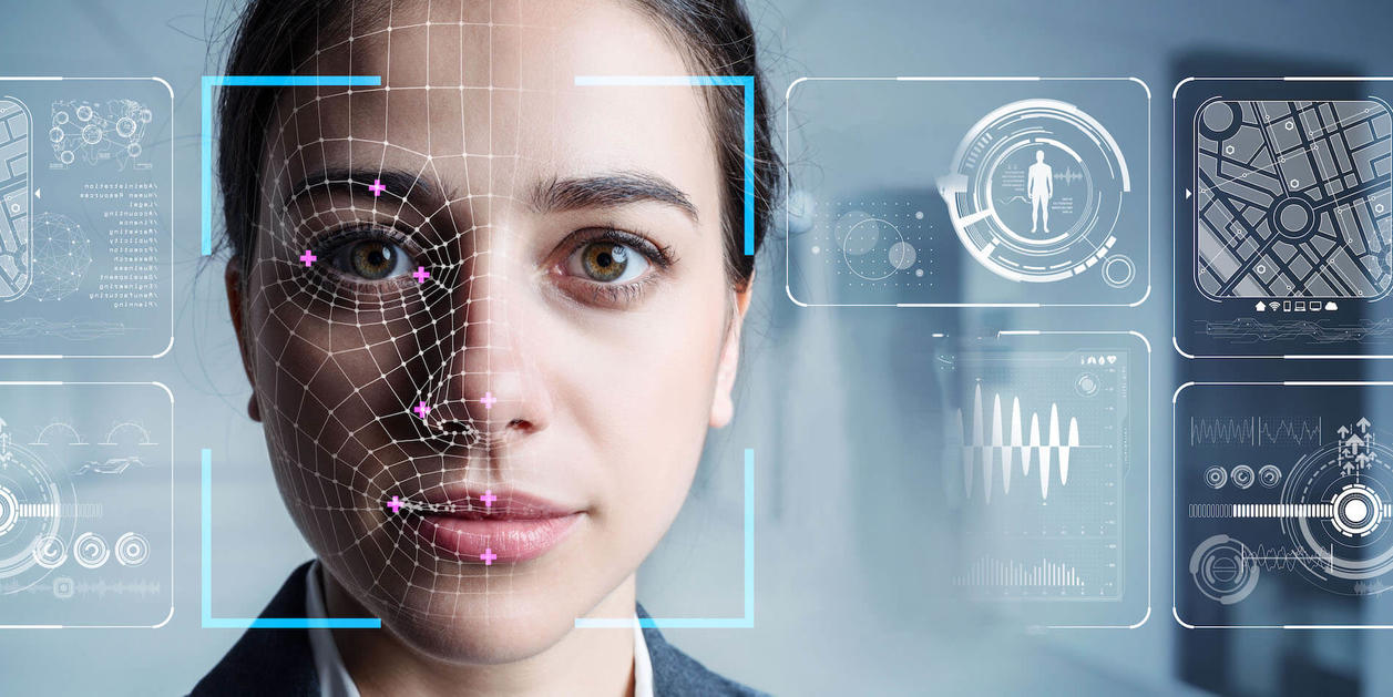 Facial Recognition Technology on Woman's Face