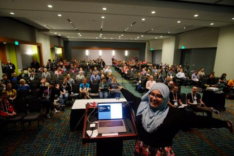 Fatima presenting her first back-end presentation at DrupalCon Nashville.