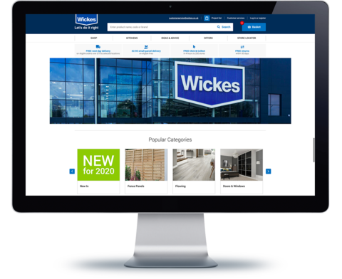 Computer with Wickes website on screen