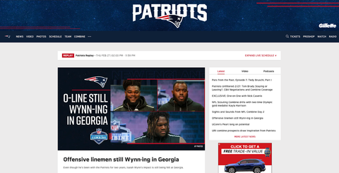 New England patriots web page
