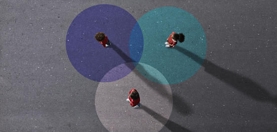 People in colored circles