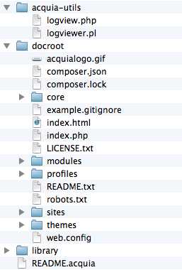 Drupal 8's files nested inside the docroot folder.