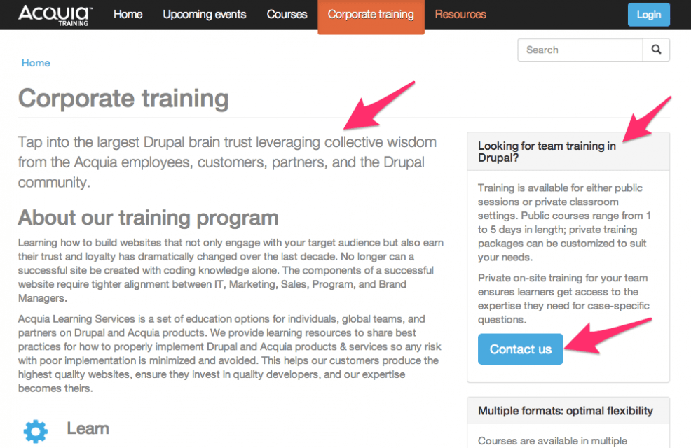 training site example page