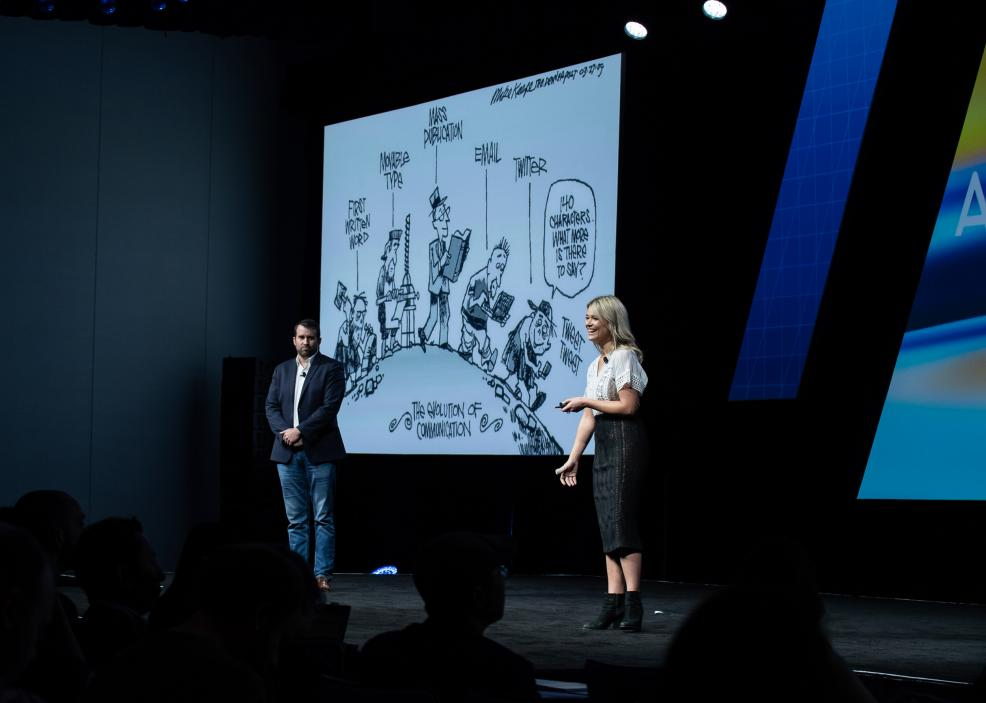 VMLY&R's Jeff Geheb and Leah Sand at Acquia Engage 2018