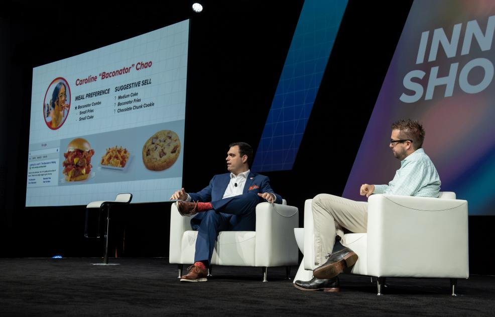 Michael Mancuso, digital product owner at Wendy's, speaks to Dries Buytaert at Acquia Engage 2018.