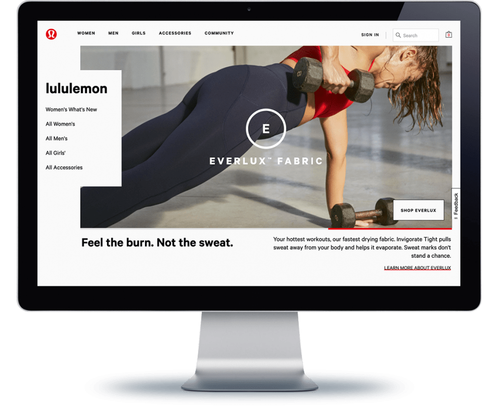 Lululemon site on a computer monitor