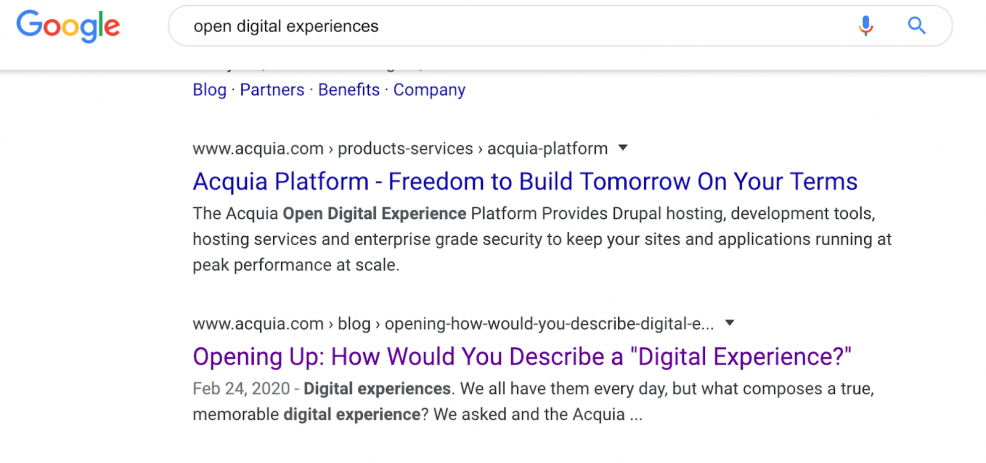 serp results page for open digital experience